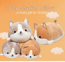 New Cute Corgi Dog Plush Toy Pillow Stuffed Soft Animal Cartoon Pillow Lovely Christmas Gift For Kids Kawaii Present pillow 35CM цена и фото