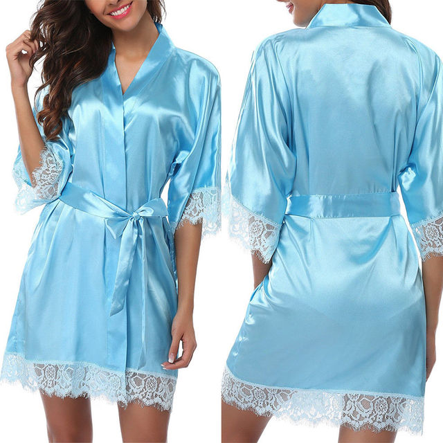 Ladies Women's Lace Sleepwear Robe Summer Middle Lace Sleece Bathrobe Sexy Lingerie Night Gown Thongs 4
