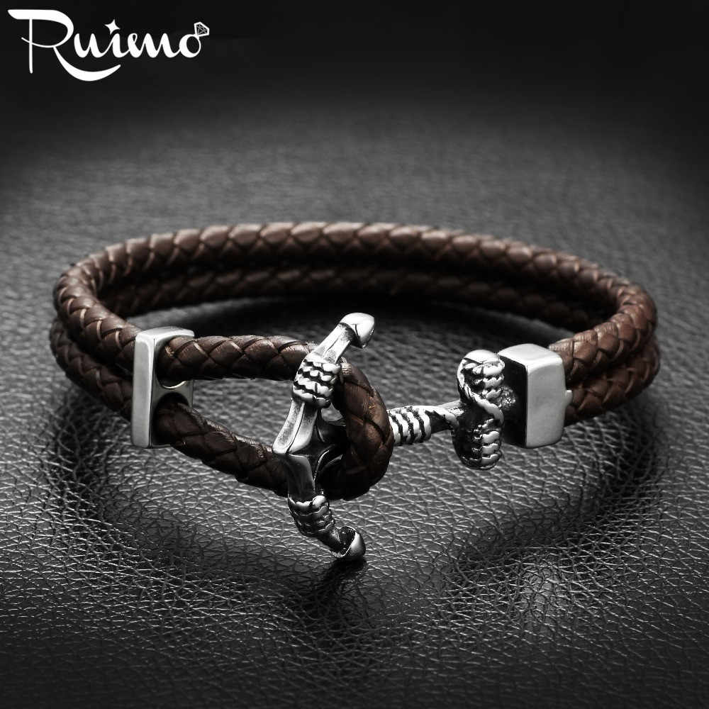 RUIMO Anchor Bracelet Men Stainless Steel Hook Survival Paracord Leather Wrap Bracelet
