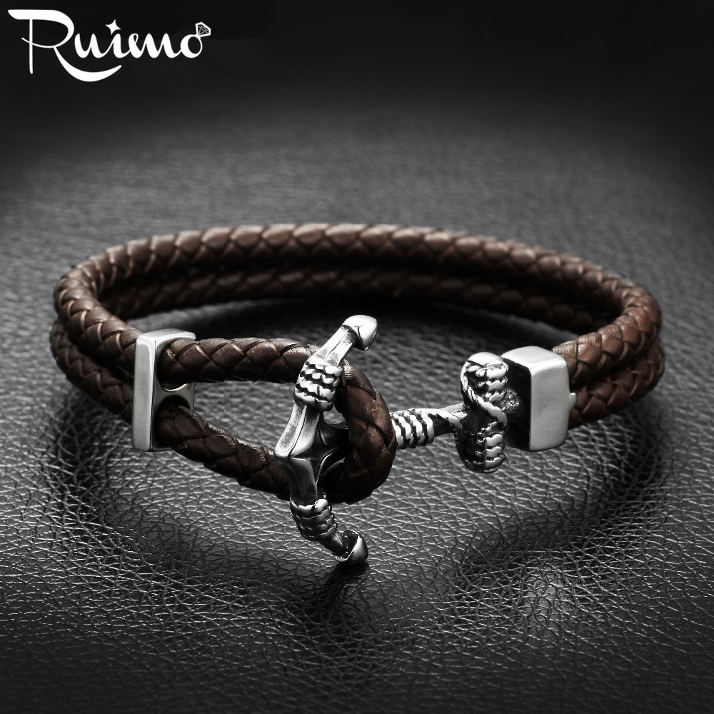 RUIMO 316l Stainless Steel Men Anchor Bracelet Black Brown Genuine Leather Bracelets For Men Trendy Male Cuff Bangles Jewelry
