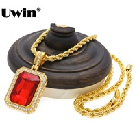 Men S Trendy Iced Out Hip Hop Pendant Necklace Jewelry Gold Plated Red Ruby Big Square