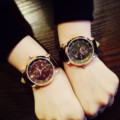 Fashion Vintage Rose Gold Leather Wristwatches Wrist Watch Clock for Men Male Boy Women Unisex Students OP001