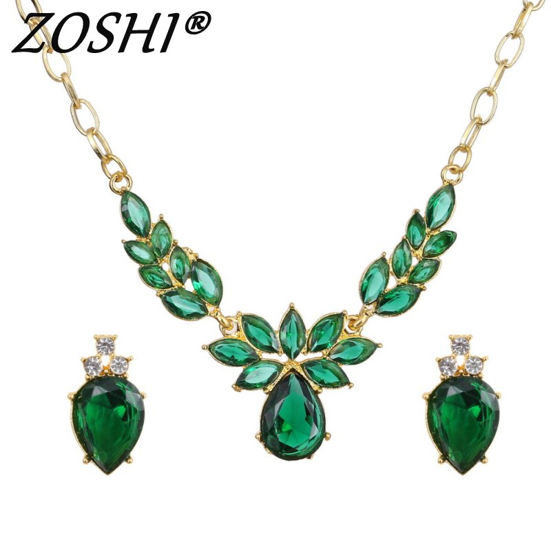 ZOSHI Trendy Free Shipping Wedding Golden Plated Jewelry Sets Necklace Earrings Women Flower Necklace Earring CZ Crystal Jewelry
