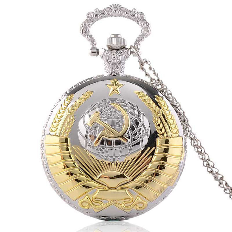 New Soviet Sickle hammer Style Quartz Pocket Watch Men women Vintage Bronze Pendant  Necklace Pendant Clock With Chain kyrgyzstan steel sickle weeding sickle blade length 16 5c garden agricultural tools