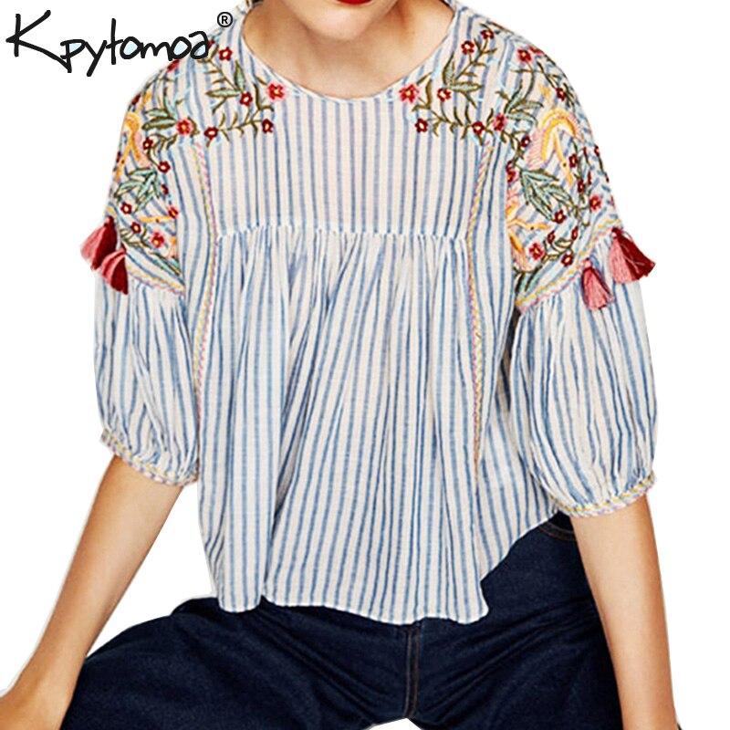 Boho Floral Embroidery Tassle Oversized Women   Blouses     Shirts   2019 New Fashion Half Sleeve Loose   Blouse   Vintage Tops Femme blusas