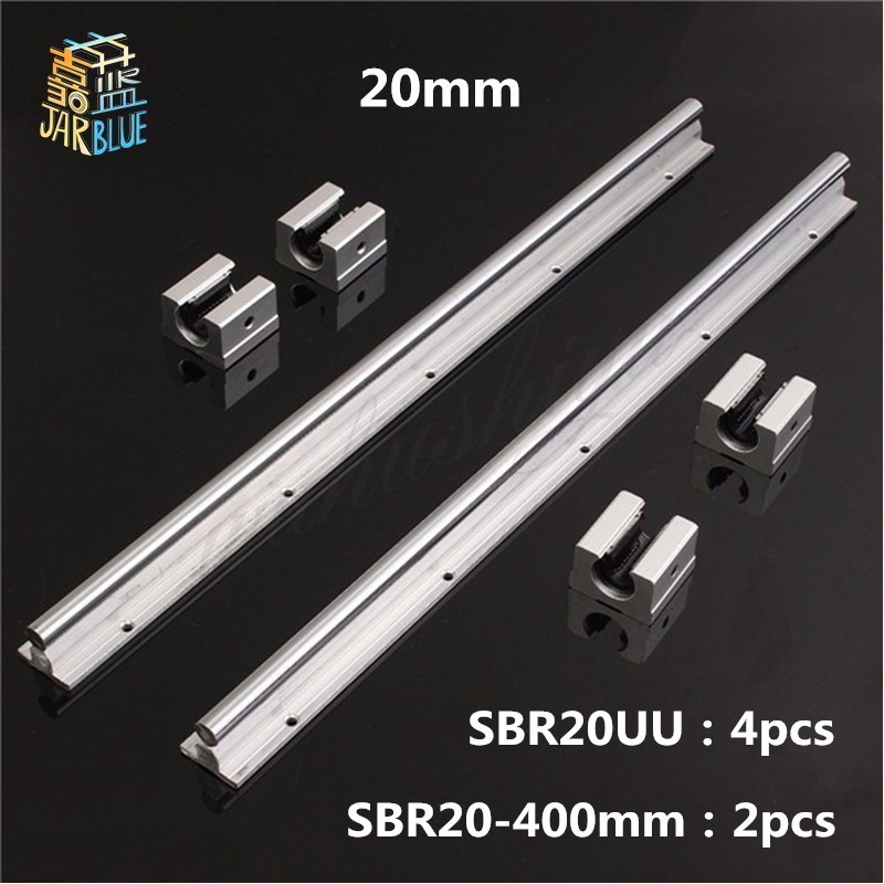 2 pcs SBR20 400mm linear bearing supported rails with 4 pcs SBR20UU bearing blocks 2 pcs sbr16 400mm linear supported rails 4 pcs sbr16uu bearing blocks