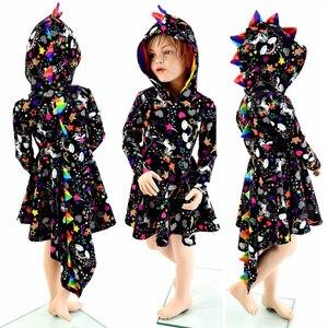 Детское платье с капюшоном и динозавром для девочек, платье для Хэллоуина, платье с животным
