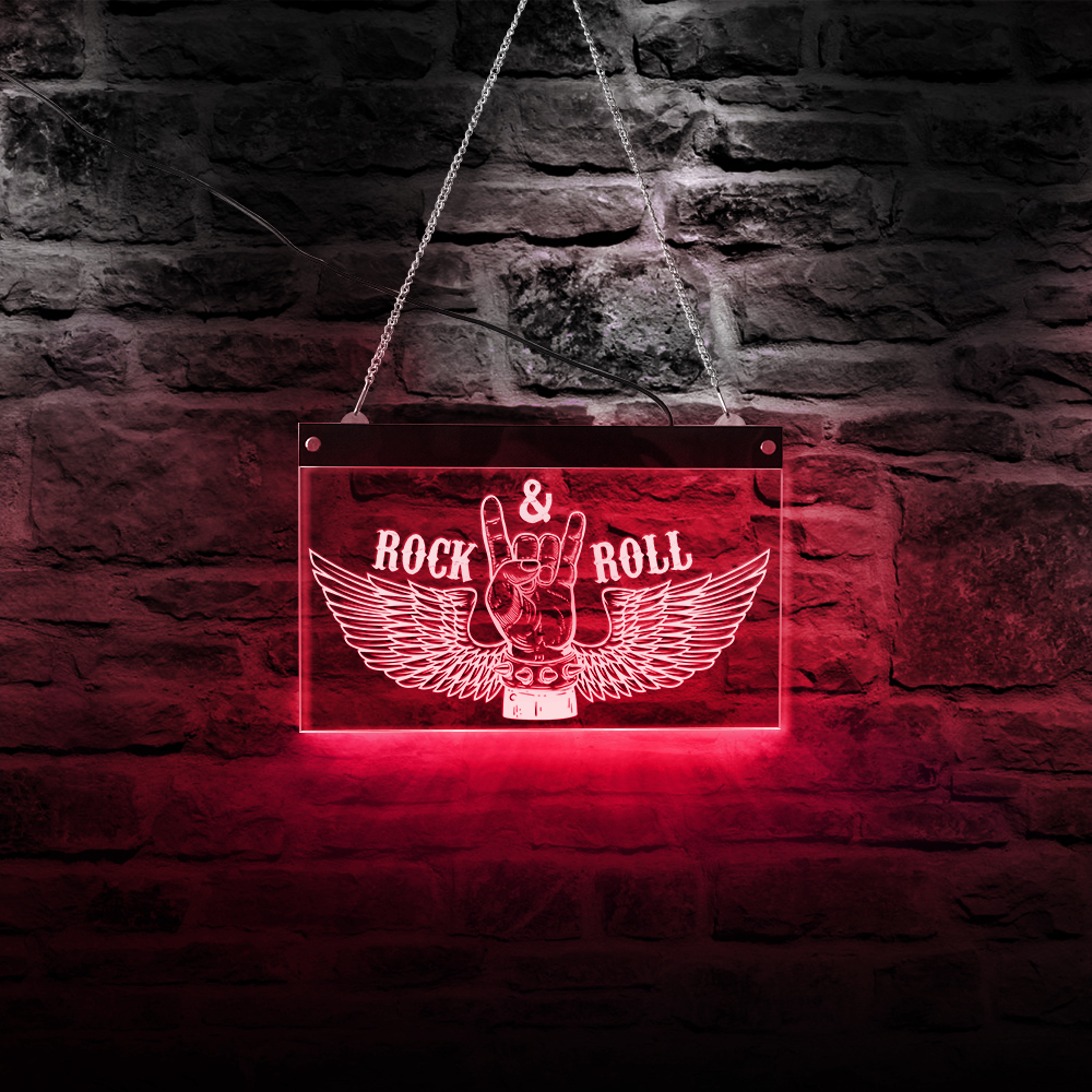 Rock N Roll Rock Music Multi-Colors Changing Led Light Sign Gift For Band Pub Bar Fashion Wall Art Decor Neon Display Sign Board
