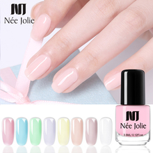 NEE JOLIE 3.5ml Translucent Jelly Nail Polish Semi-transparent  Purple Green Mixed Colors Art Varnish Design