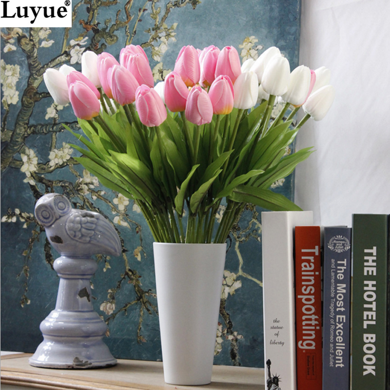Luyue 10/31pcsTulip Artificial Flower PU artificial bouquet Real touch flowers For Home Wedding decorative flowers & wreaths