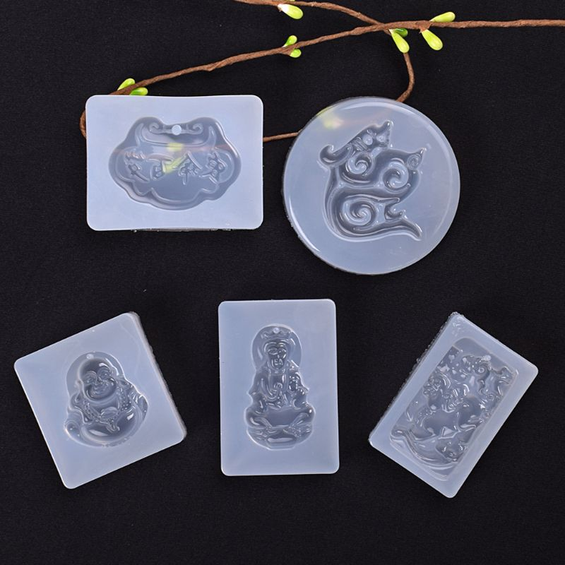 5Pcs Buddhism Jade Pendant Silicone Mold Kit Epoxy Resin Jewelry DIY Making Tools