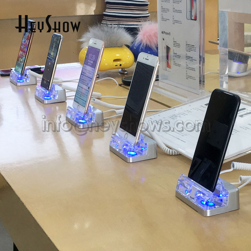 2 Ports Mobile Phone Security Stand Acrylic Cellphone Anti Theft Holder Blue Smartphone Display Alarm System For Apple Store