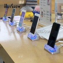 Soporte de seguridad para teléfono móvil acrílico antirrobo, sistema de alarma, pantalla azul, para Apple Store, 6 uds.