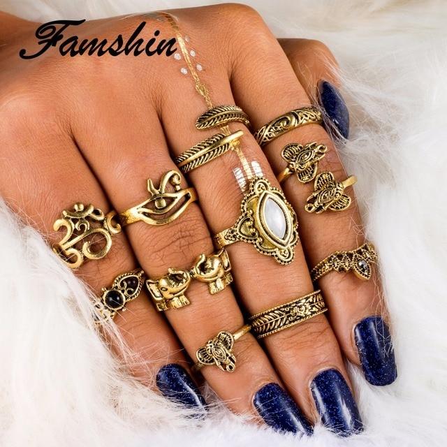 FAMSHIN 11PCS/Set Bohemian Vintage Elephants Olive Branch Opal Midi Knuckle Finger Ring Set Feathers leaves OM Yoga Jewelry Gift