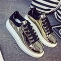 Outdoor New Women shoes 2016 Shining PU shoes fashion Flats casual Walking shoes joker zapatillas deportivas mujer size 35-40