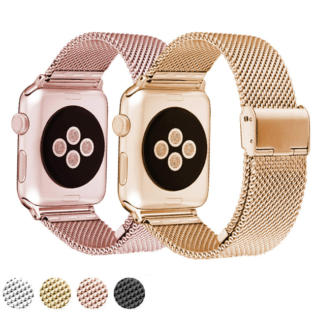 High Quality Black 38MM/42MM Stainless Steel Mesh Apple Watch Strap Band For iWatch Smart Watches Suitable for Apple watches 1 2  high quality black color leather 38 42mm width apple watch strap band for apple watches