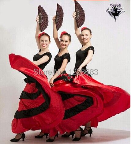 Nouvelle Mode à Prix Réduits Pas Cher Espagnol Corrida Noir Rouge Filles  Longue Robe De Flamenco