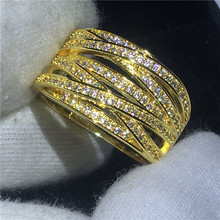 цена на Trendy Cross Yellow gold filled ring Pave setting AAAAA zircon cz Engagement Wedding Band Rings for women Bridal Jewelry