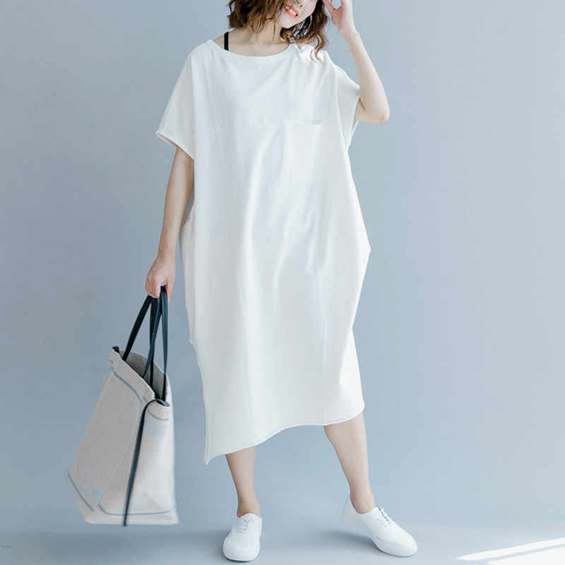 Johnature Solid Color Short Sleeve Casual Loose Dresses For Women 2019 Summer New Women Clothes 2 Colors Simple Dresses