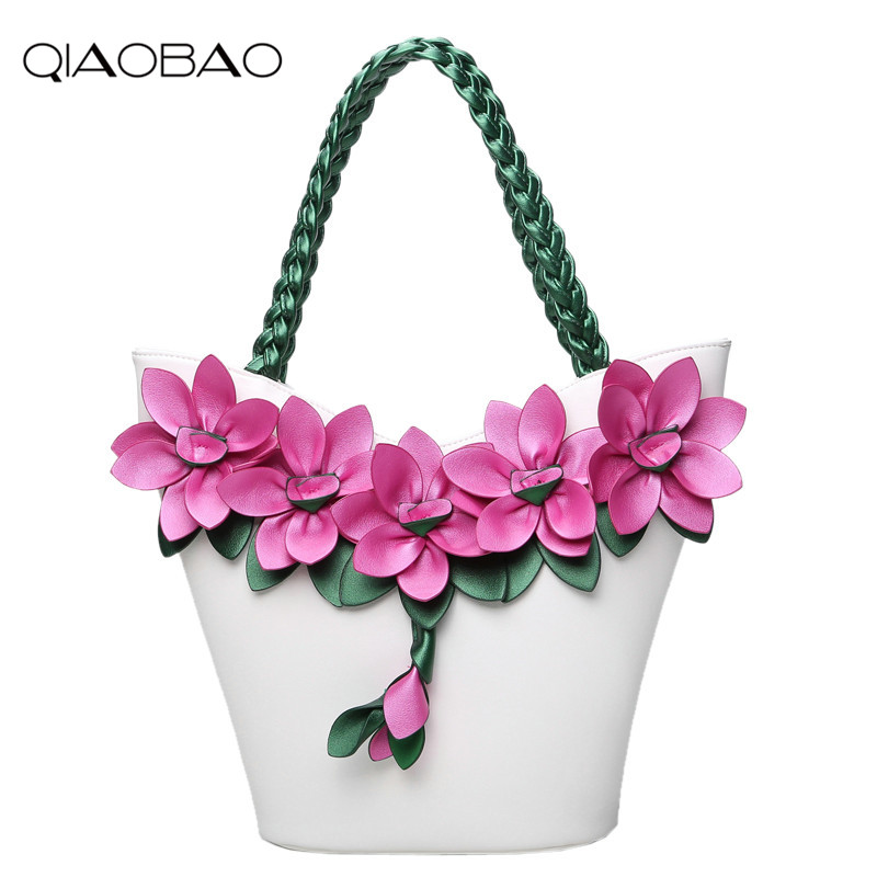 QIAOBAO 2018 New Female Flower Bag Splicing hit color fluorescent fashion flowers woven large capacity shoulder bag Fashion Tote bow decor flower woven tote bag