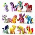 12 unids/lote Arco Iris Lindo Poni caballo Unicornio Muñeca 3-5 cm Acción PVC Figure Collection Modelo Juguetes Para Niños Regalo de cumpleaños
