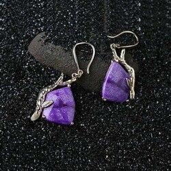 الطبيعية غير الملبوسات خام الثمينة Sugilite إلى الفضة موضة النساء الأقراط والمجوهرات الزفاف