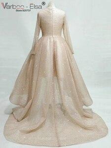 Image 5 - VARBOO_ELSA 2018 mode femmes à manches longues haute basse robe de soirée Champagne robe de bal en paillettes courte devant longue dos robe de soirée