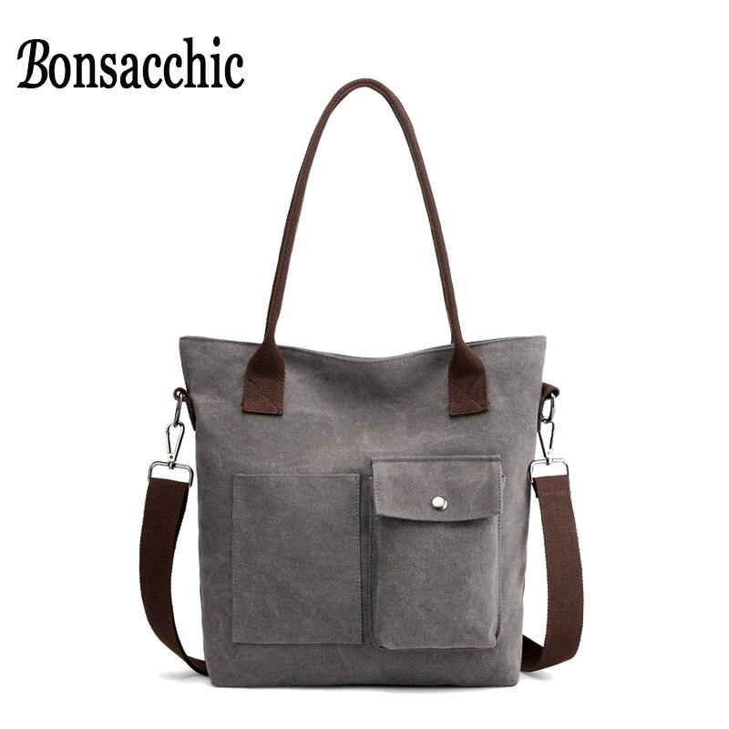 a851dd89242 Gray Ladies Tote Handbag Canvas Bag Handbags Women Famous Brand Female  Shopping Bag Girls Shoulder Crossbody. US  19.98. Bonsacchic Red Bucket ...