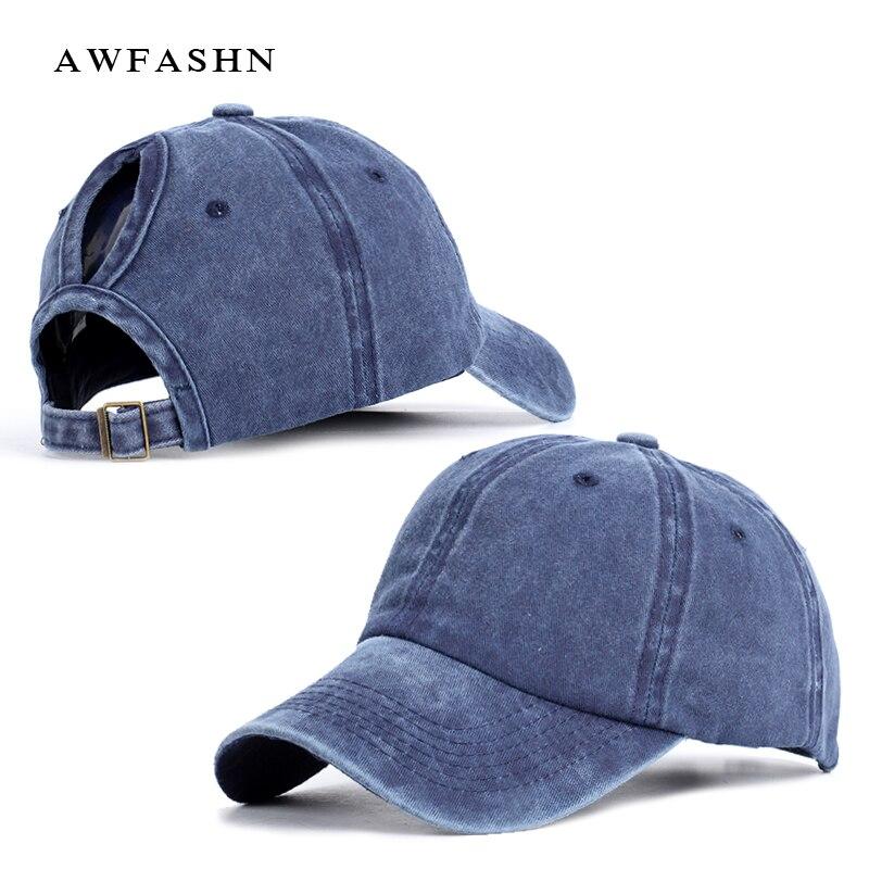 2019 New Fashion Ladies Ponytail   Baseball     Cap   Vintage Casual Hat Spring Women High Quality Adjustable Washed Cotton Sport Black
