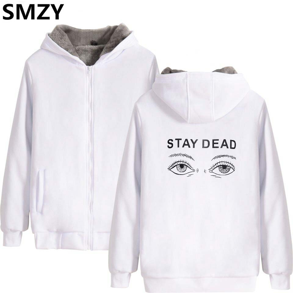 SMZY Eye Zipper Thicken Hoodies Women Sweatshirts Winter Funny Print Stay Deda Hoodies Sweatshirt Tops Pullovers Women Clother
