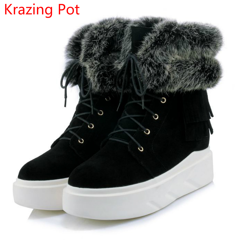 2018 Handmade Genuine Leather Fashion Flat with Keep Warm Lace Up Winter Boots Platform Round Toe Sexy Women Mid-Calf Boots L1f1 цена 2017