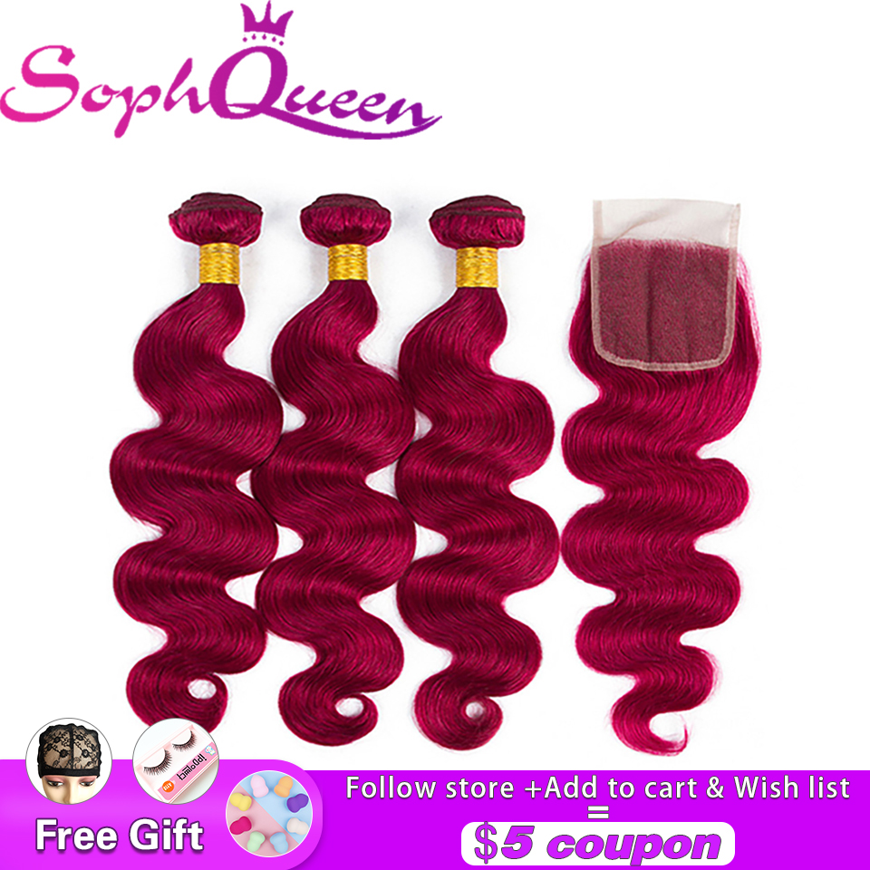 Soph Queen Hair Body Wave Indian Hair Bundles With Closure Pre Colored Bug Human Hair Bundles