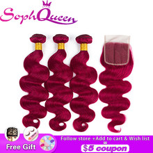 Soph Queen Hair Body Wave Indian Hair Bundles With Closure Pre-Colored #Bug Human Hair Bundles With Closure Remy Hair Extensions(China)