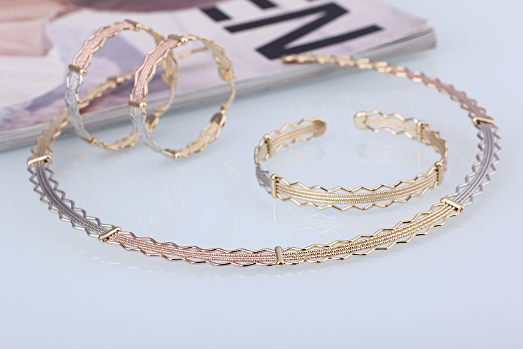 Fashion Tri Tones Dubai Gold Plated Jewelry Sets Bridal Wedding Real