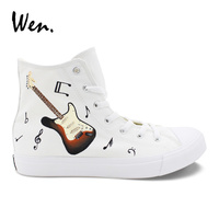 Wen Hand Painted Shoes Original Design Music Notation Guitar High Top White Canvas Sneakers Female Male Casual Plimsolls Flat