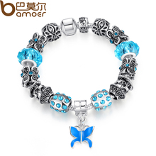 BAMOER Fashion Strand Bracelet Blue Glass Beads Bracelet for Women with Butterfly Beads Female Bracelet Jewelry PA1357