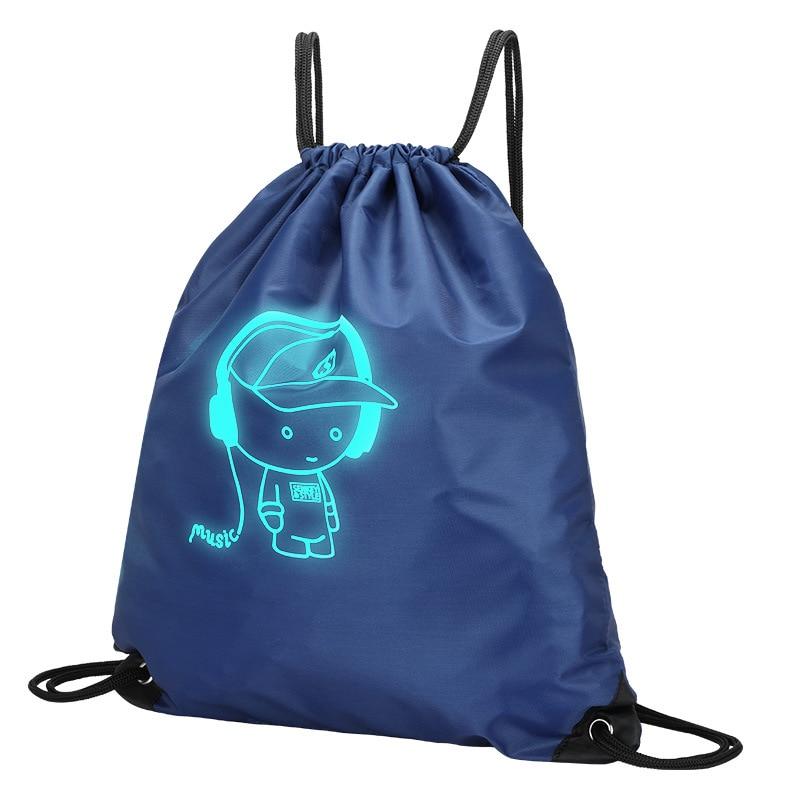 Fashion Luminous Drawstring Bag For Boys Girls Drawstring Backpack Bag Custom Printing Logo For Men Women Students