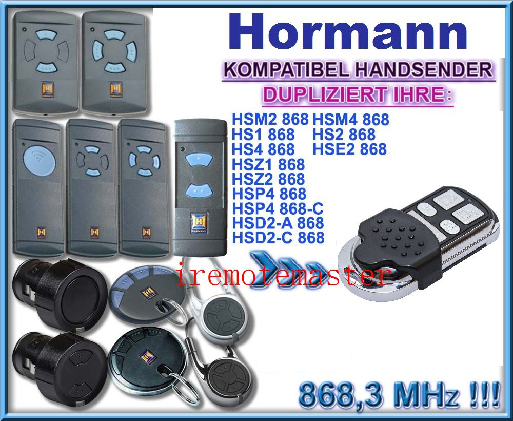 HORMANN (Blue buttons compatible) HSE2 868Mhz Garage Door/Gate Remote Control Replacement/DuplicatorHORMANN (Blue buttons compatible) HSE2 868Mhz Garage Door/Gate Remote Control Replacement/Duplicator