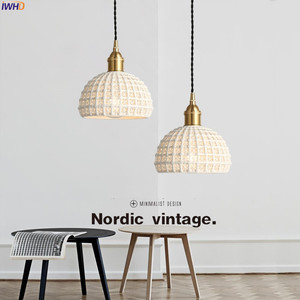 Image 5 - IWHD Nordic Japan Style Pendant Lights Fixtures Dinning Living Room Light White Ceramic Copper Vintage Pendant Lamp Hanglamp