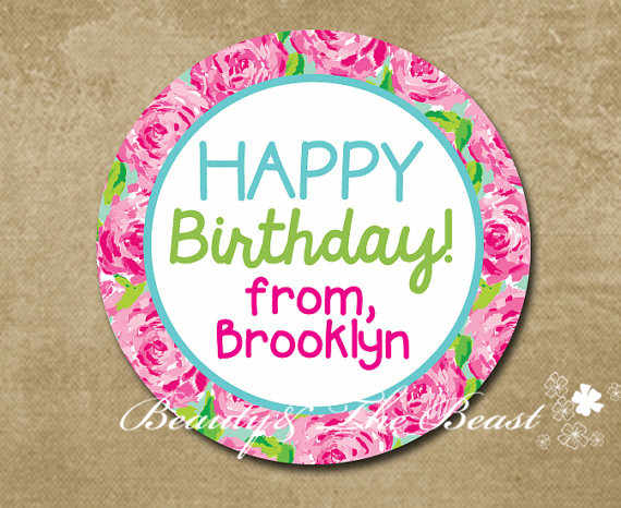 Personalized Flower Happy Birthday Gift Sticker Party Bag Labels Tags Decorations Kids