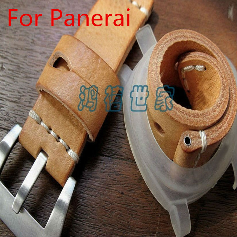24MM Brown Handmade Soft Leather Watch Strap, Retro Leather Watchband  Belt For Pam 22mm 24mm 26mm frosted dark blue retro soft mate genuine leather watchband watch strap for pam and big watch free shiping