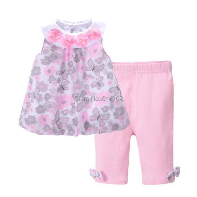 Bebé Ropa de Verano Niñas Establece Kids Niños Vestido de Gasa Sin Mangas y Pantalón de Traje de 2016 de La Muchacha Ropa Fijada para el Bebé Vestido