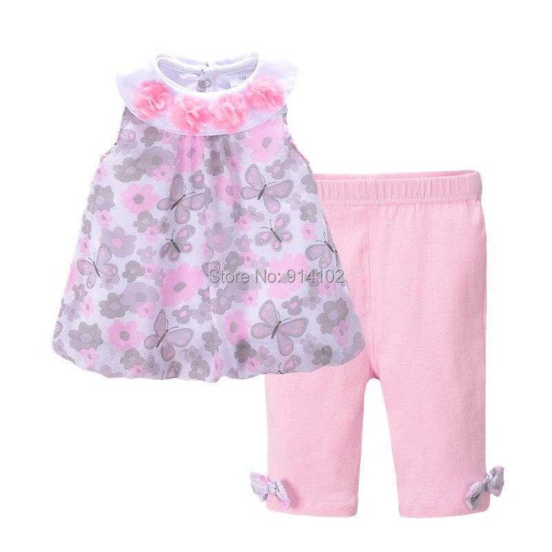 Sommer Blumen Baby Mädchen Kleidung Sets ärmellose Chiffontops & Hose Kinder Outfits Anzug Kinderkleidung