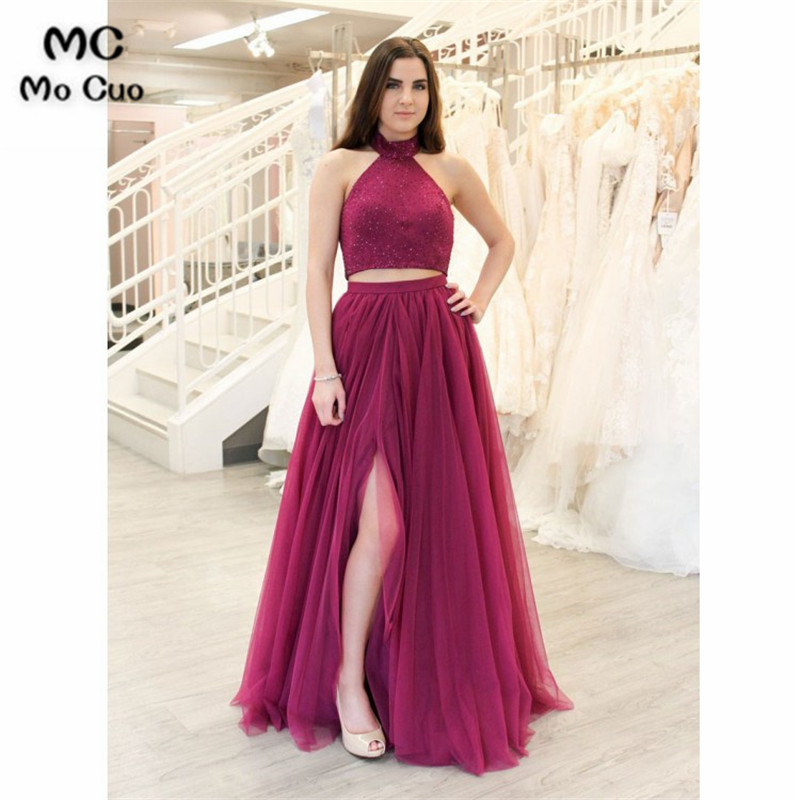 2018 Burgundy Beaded Prom dresses Long Halter Two Pieces Gown Women's dress for graduation Formal Evening Prom Dress for Women
