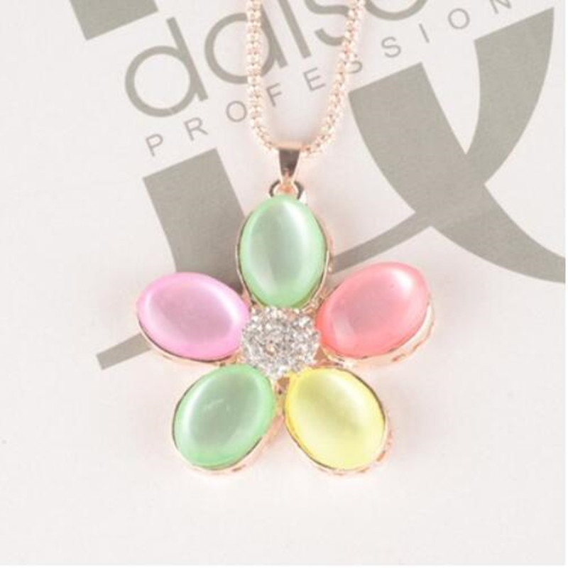 Colorful crystal butterfly rhinestone female long necklace chain pendant opal sweater chain