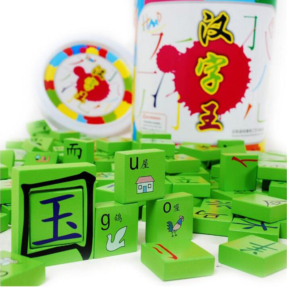 Chinese Characters Learning Wooden Blocks With Pinyin For Beginner Domino Toys For Kids Educational Toy bohs kids child wooden multicolour mathematics math domino blocks early learning toy sets 1set 110pcs 1pc storage bag