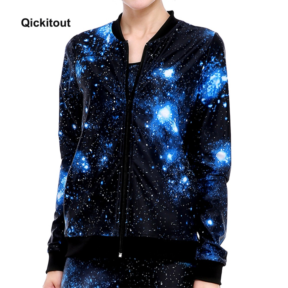 Qickitout 2017 New Autumn and winter fleeve printed women's casual Long Sleeve Casual Muscle Slim Fit Jackets Coats Sweatshirts