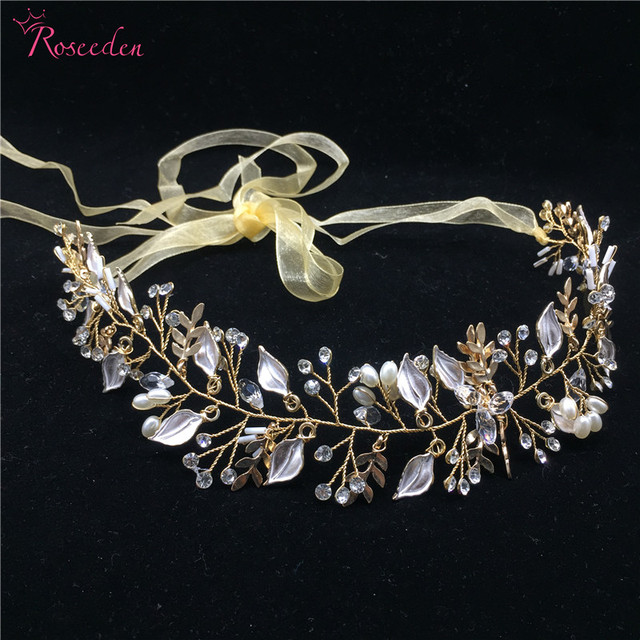 New arrival gold leaf  bridal hair vine high quality handmade hairwear wedding hair accessory wedding tiaras crowns RE712
