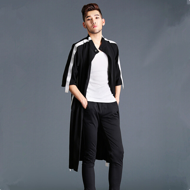 HOT 2017 New men spring clothing trench loose medium-long mantissas overcoat outerwear Catwalk models Loose cloak coat costumes