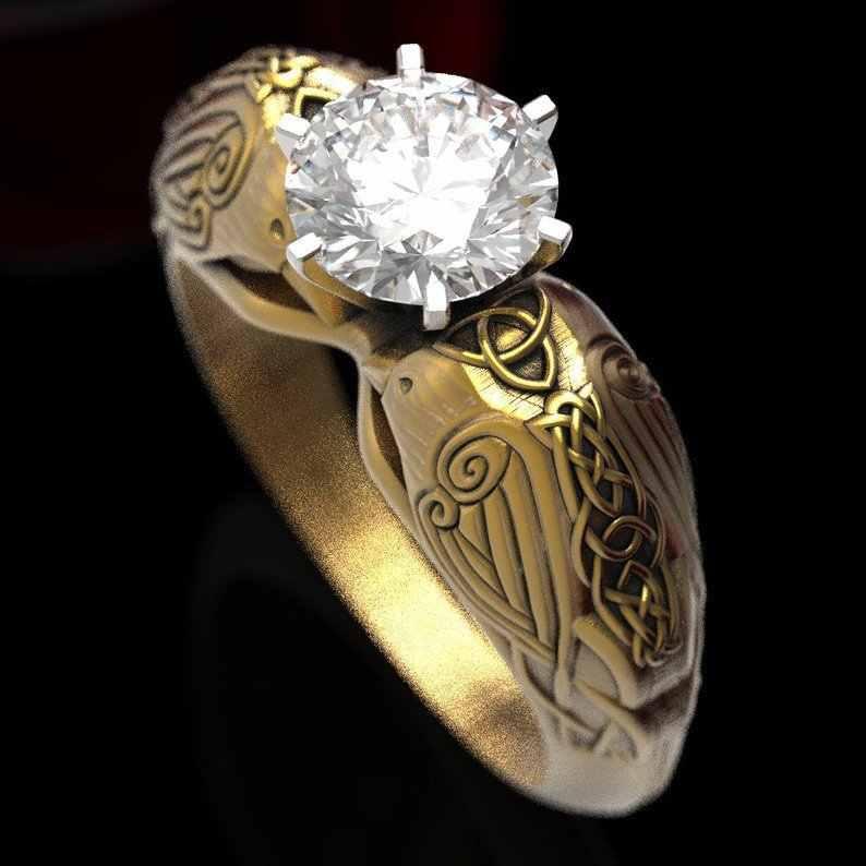 Vintage Creative Celtic Totem แหวนเครื่องประดับฝัง Zircon สร้อยคอทองคำสีแหวนแหวนหมั้นงานแต่งงานของขวัญ